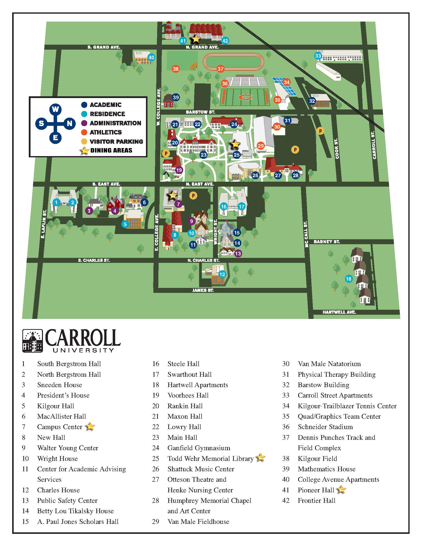 carroll university campus map Dining Services Map Of Dining Locations My Carrollu carroll university campus map